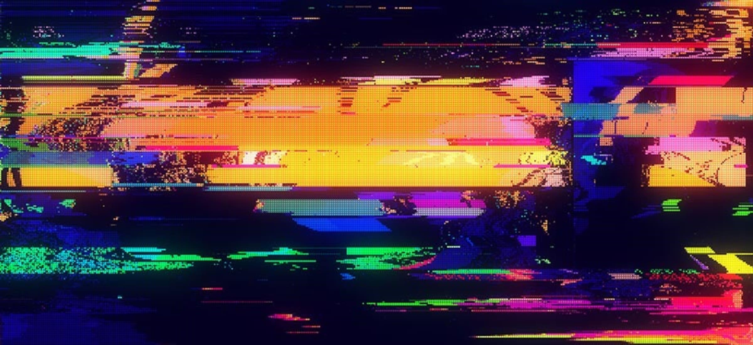 Colorful digital noise on a screen