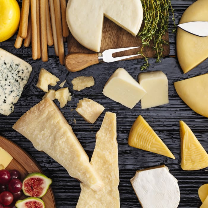 cheese board with assortment of cheeses