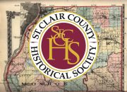 Old St Clair County map with St Clair County Historical Society logo.