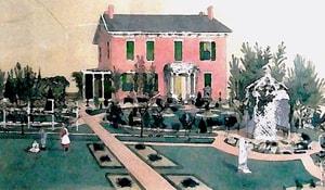 Artist's rendering, Victorian Home Museum gardens, 1860s.