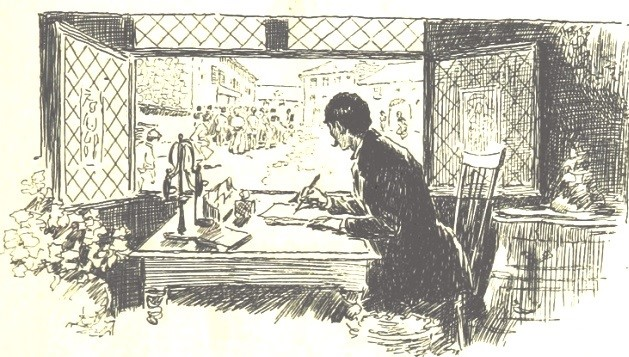 Man Writing, Stock Image, 1895