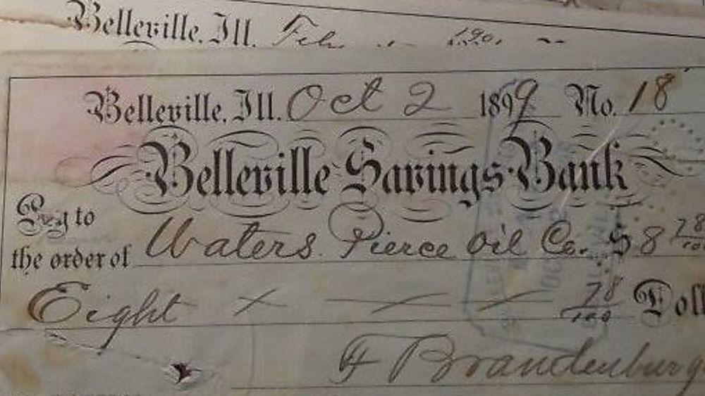 Checks, First Bank of Belleville, 1880s