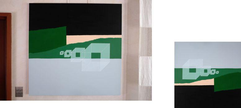 peinture islande paysage cabane lune mer ciel terre gouache acrylique