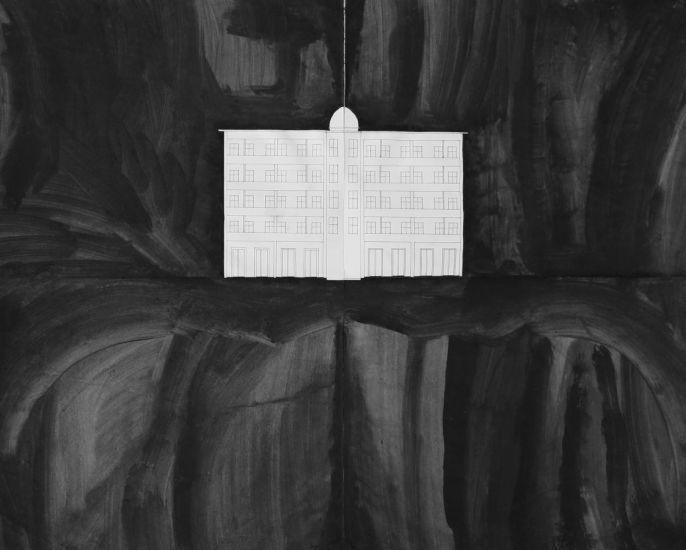 """Paysage (2). De la série """"La nuit"""". Gouache et crayon sur papier. 2013"""