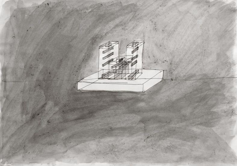 Monument (2). Gouache et encre sur papier. 2013