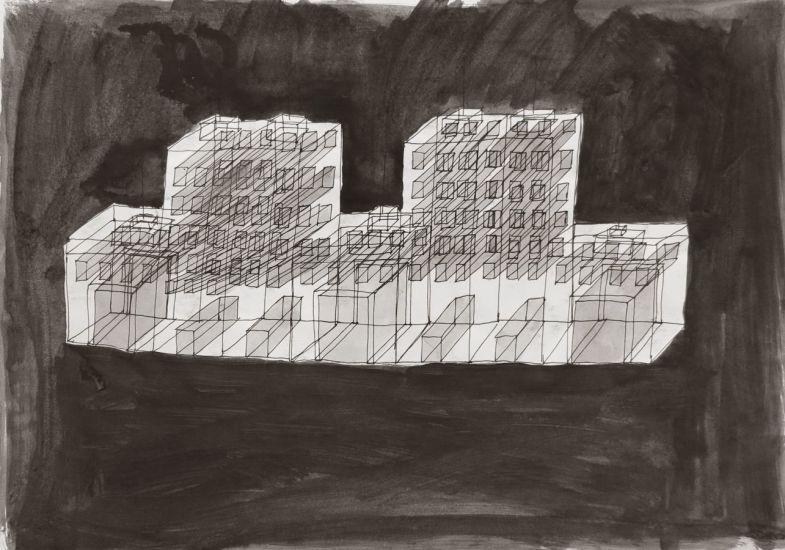 Monument (1). Gouache et encre sur papier. 2013