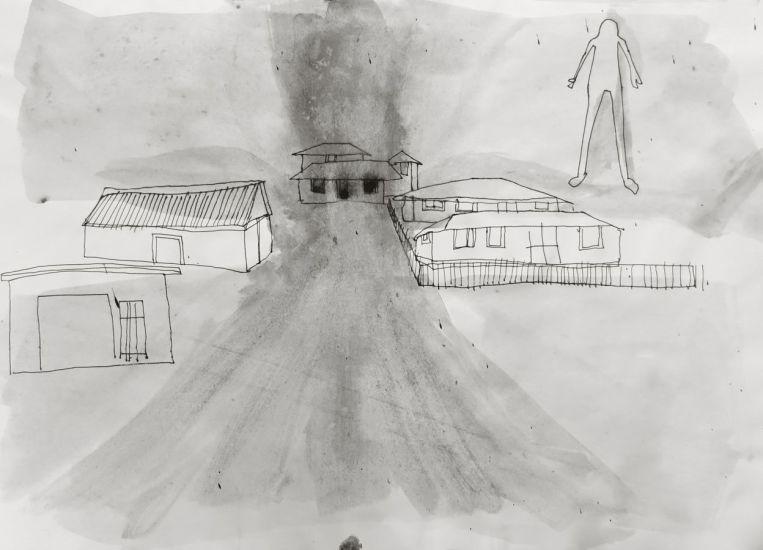 Silhouette. Gouache et encre sur papier. 2013