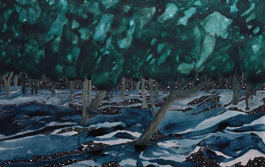 peinture gouache acrylique arbre étoile galaxie forêt voie lactée nantes chloe rolland
