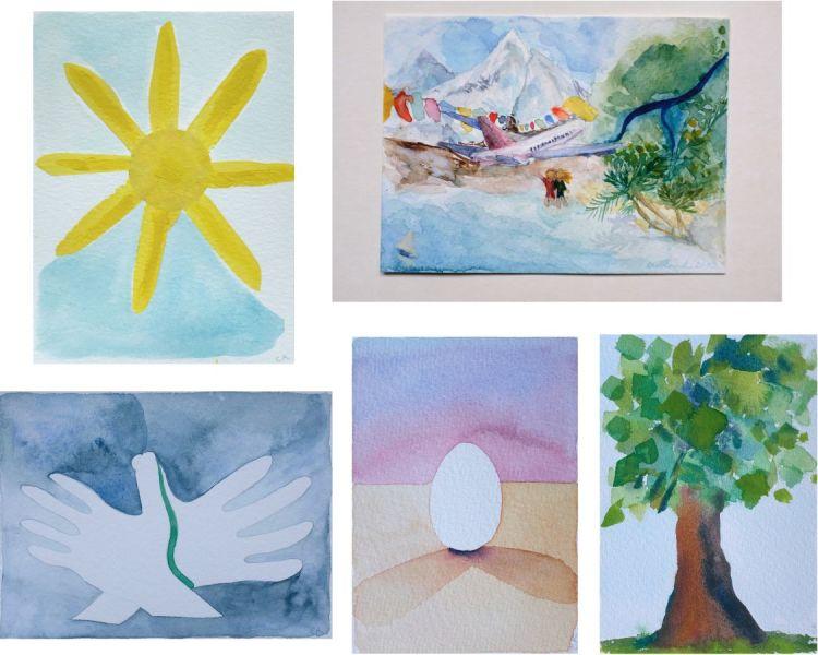 peinture soleil carte postale gouache mer ciel anniversaire dessin