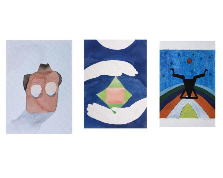 carte postale peinture dessin buste mains yoga lune cirque étoiles paulklee