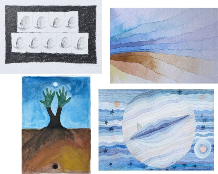 escargot empreinte ondes mains pubis lune mer paulklee étoiles cartes postales
