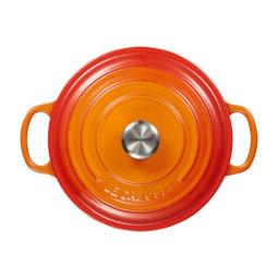 LE CREUSET(ル・クルーゼ)シグニチャー ココット・ロンド 22cm オレンジ  (ブラックマットホーロー)