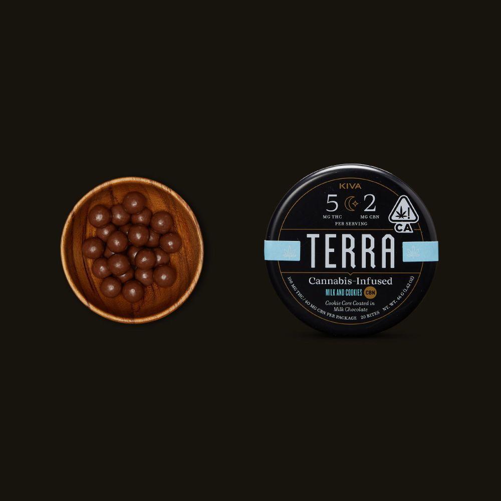 Kiva Confections Terra Milk and Cookies CBN Bites
