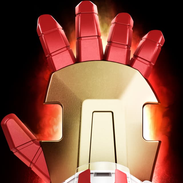 Ironman glove by Littlebits, close up front with golden cover and fingers in red