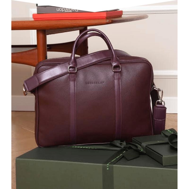 Dark maroon leather bag