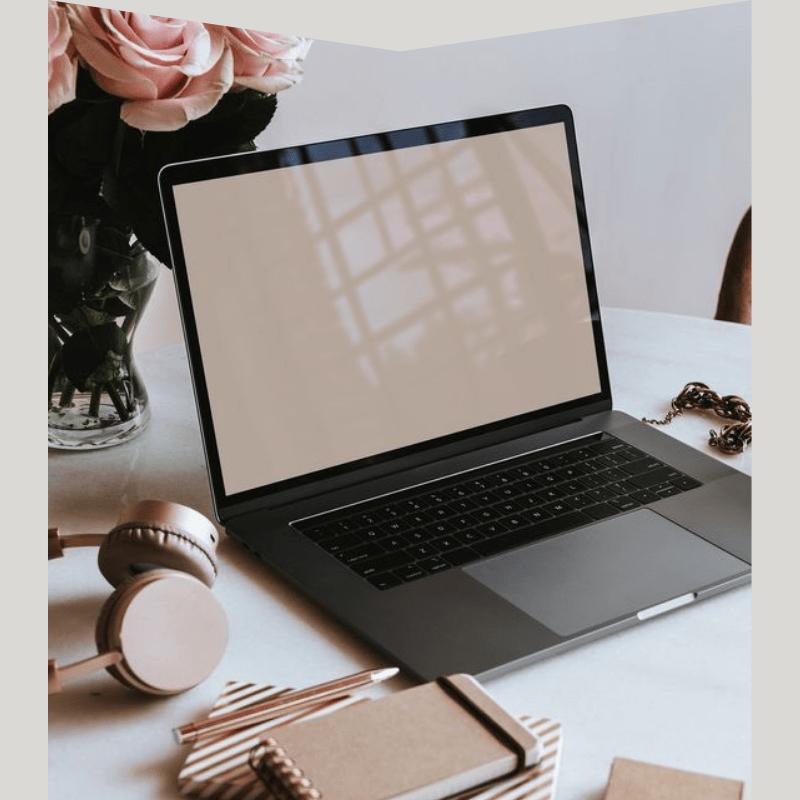 Mac laptop on desk