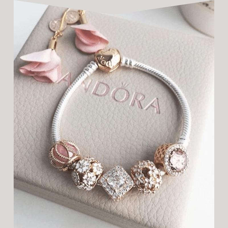silver Pandora charm braclet