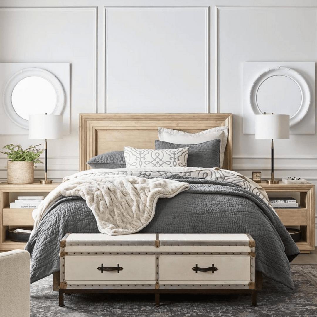 Pottery Barn gray bedding decor
