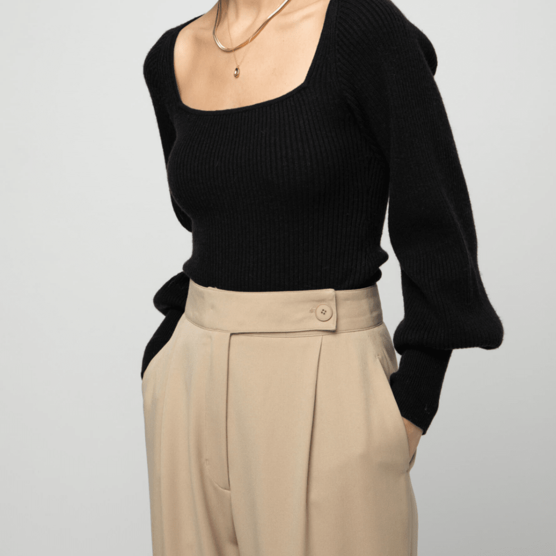 Black long sleeve square neck knit top