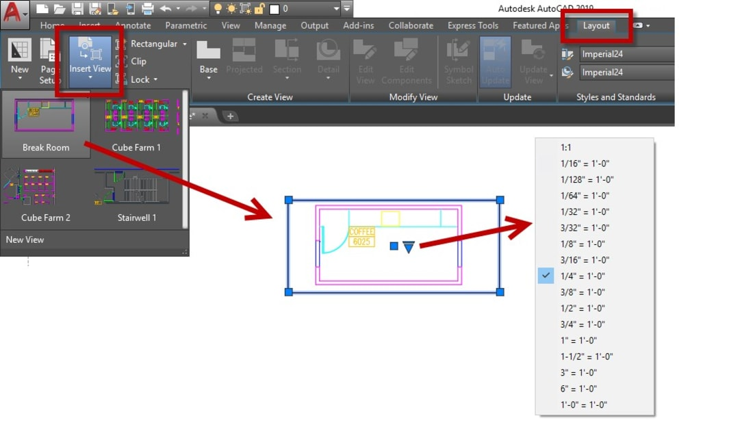 Insert view scale AutoCAD
