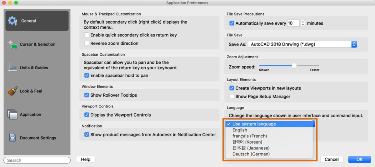 Application preferences languages AutoCAD for Mac