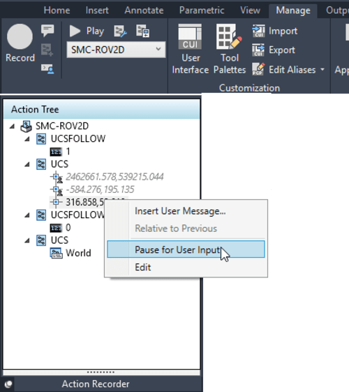 Action Recorder panel AutoCAD