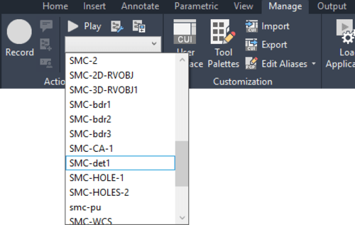 action macro drop-down AutoCAD