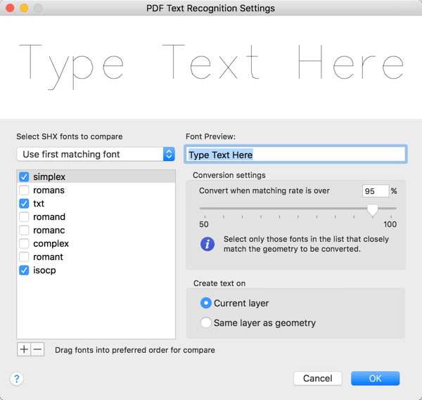 AutoCAD 2018 for Mac: PDF Text Recognition Settings