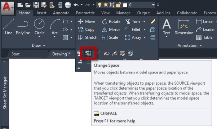 Change Space in AutoCAD