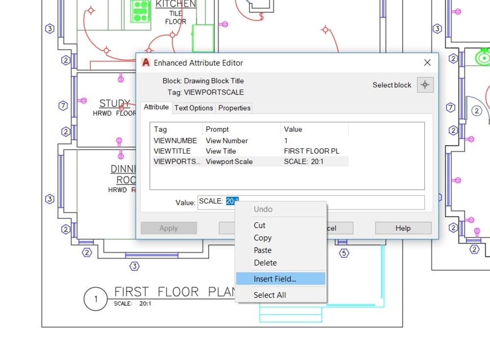 Add AutoCAD Field