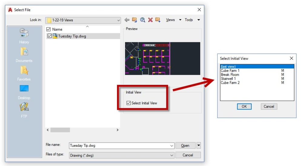 Select initial view AutoCAD