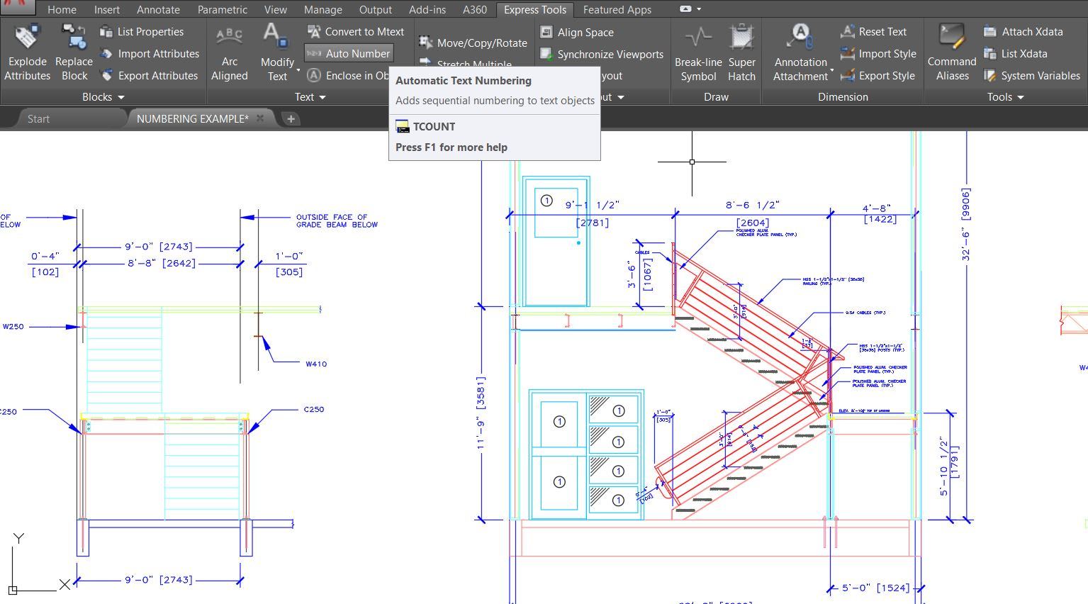 Auto Number Express Tool AutoCAD