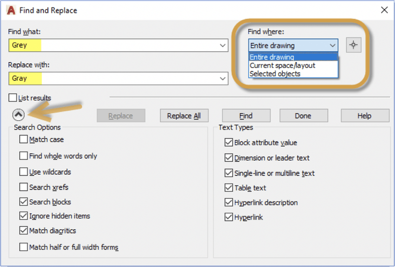 Editing Text in AutoCAD: Find and Replace