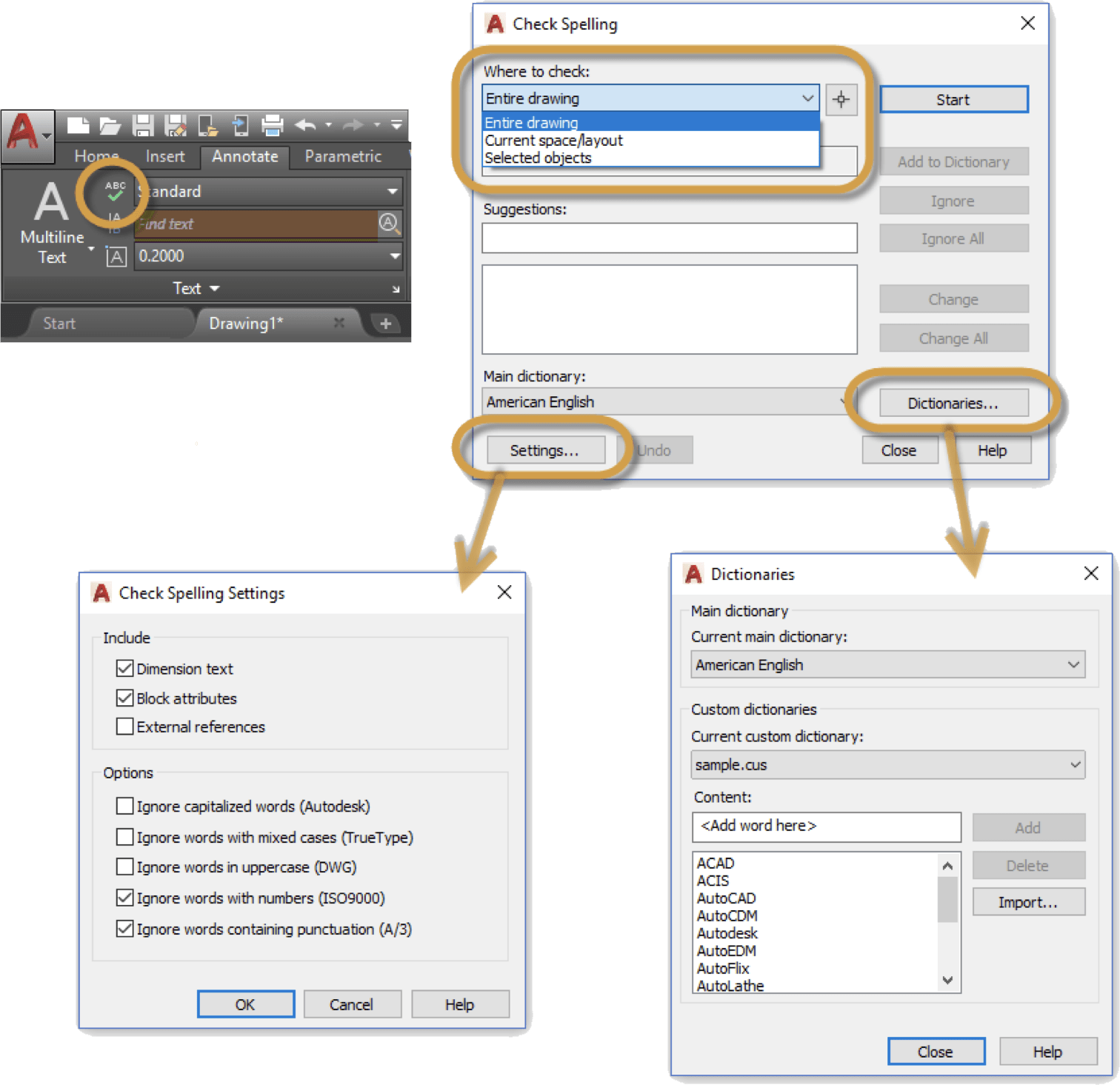 Editing Text in AutoCAD: Spell Check