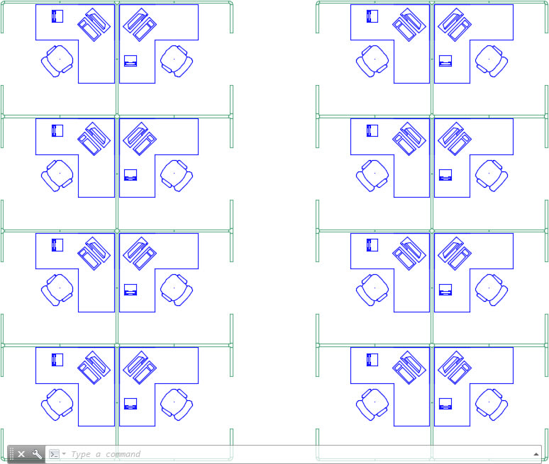 Arrays in AutoCAD: Rectangular Array (Cubicle Furniture Pattern)
