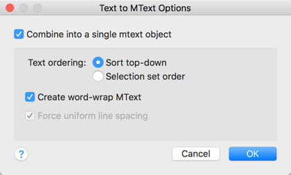 AutoCAD 2018 for Mac: Text to MText