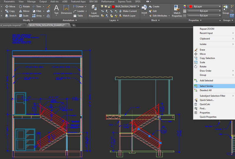 AutoCAD Object Selection and Isolation