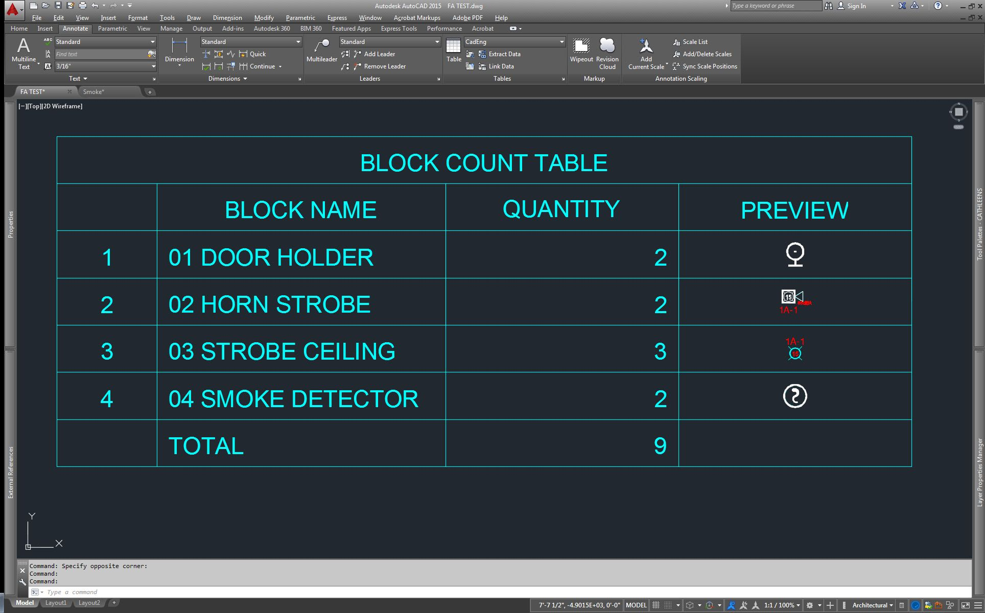 Combining AutoCAD Functions for a Faster Worfklow: Block Count Table