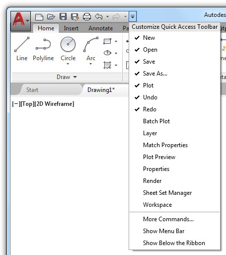 Basic AutoCAD Customization Quick Access Toolbar: Customize menu of the QAT
