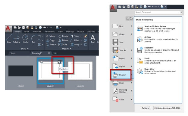 Application Menu AutoCAD