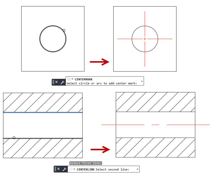 select center marks centerlines AutoCAD
