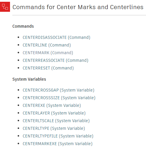 Centerlines and Center Marks AutoCAD