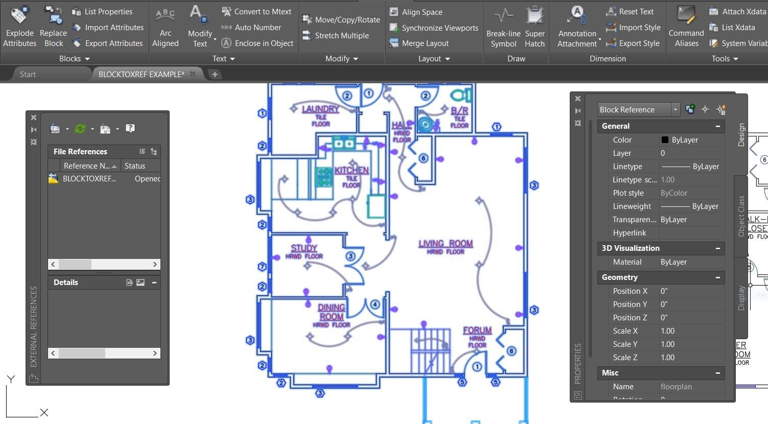AutoCAD block floor plan replace