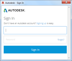 AutoCAD 2017 - Autodesk - Sign In dialog box.