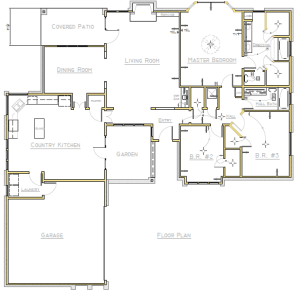 Floor plan in AutoCAD 2017 imported from a PDF.