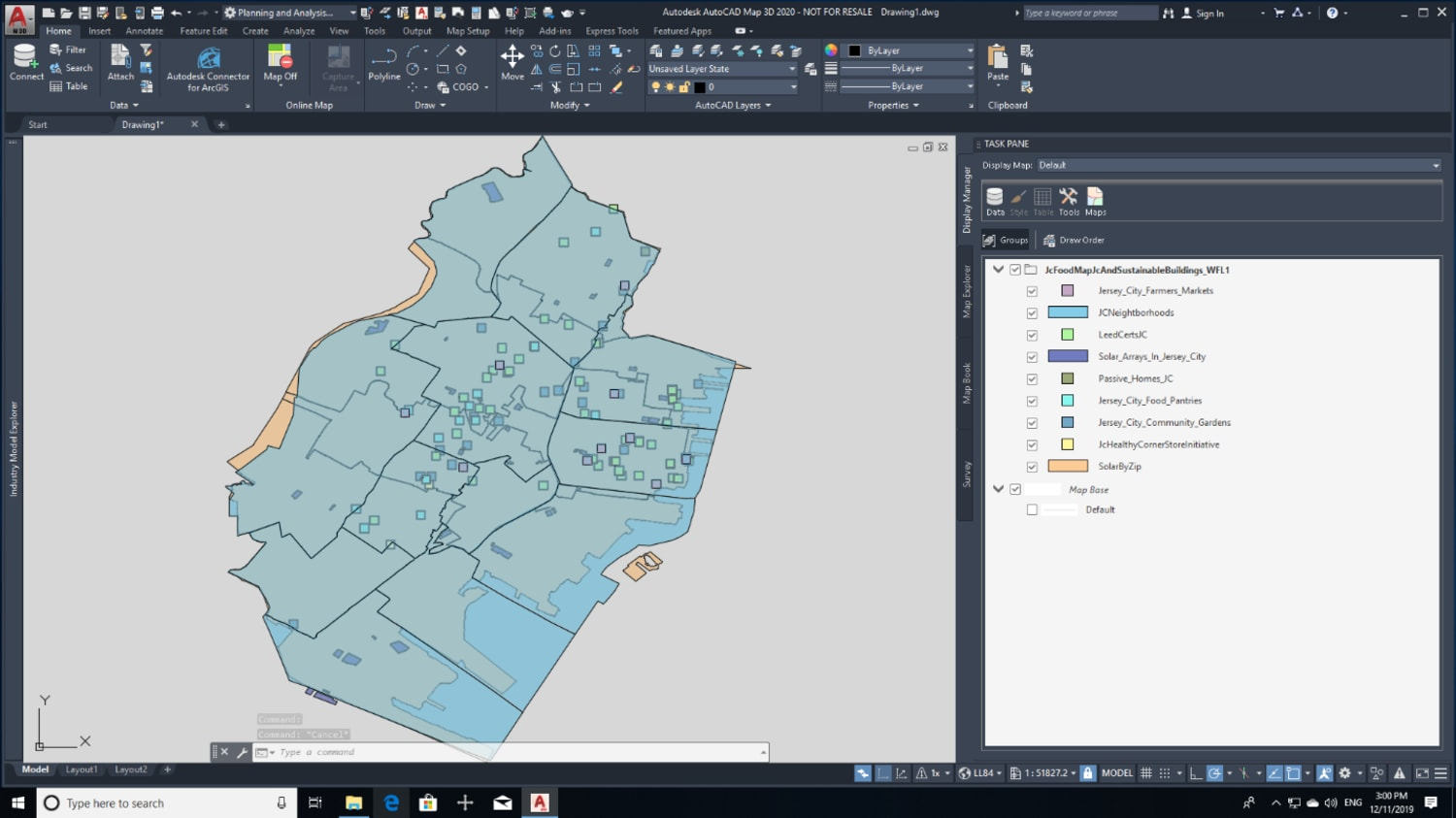ArcGIS data integrated in a Map 3D drawing.