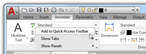 Basic AutoCAD Customization Quick Access Toolbar: Adding the Spelling Check tool to the QAT from the ribbon