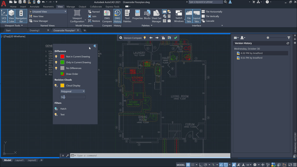 AutoCAD 2021 Drawing History