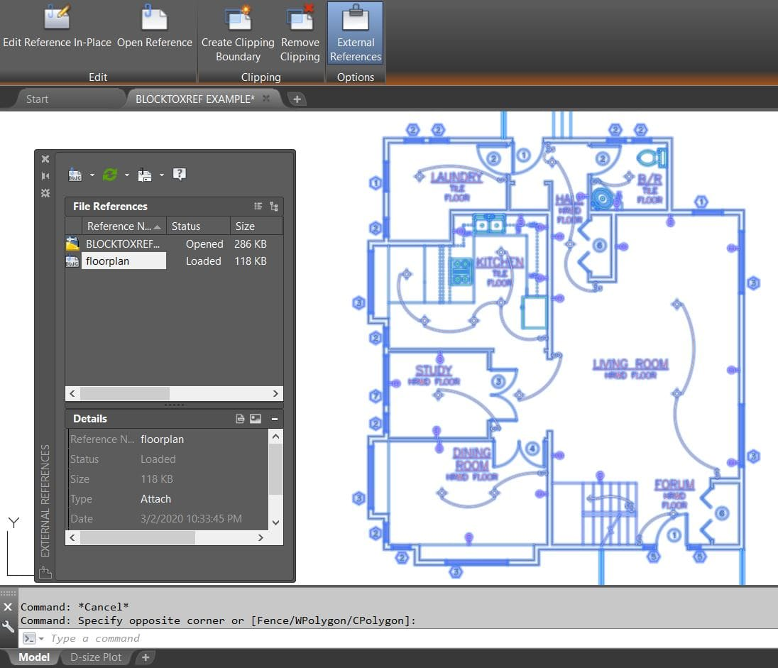 restore external reference block AutoCAD