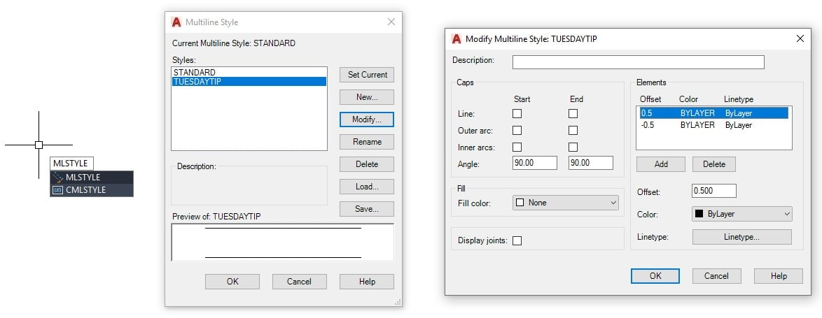 MLSTYLE command AutoCAD